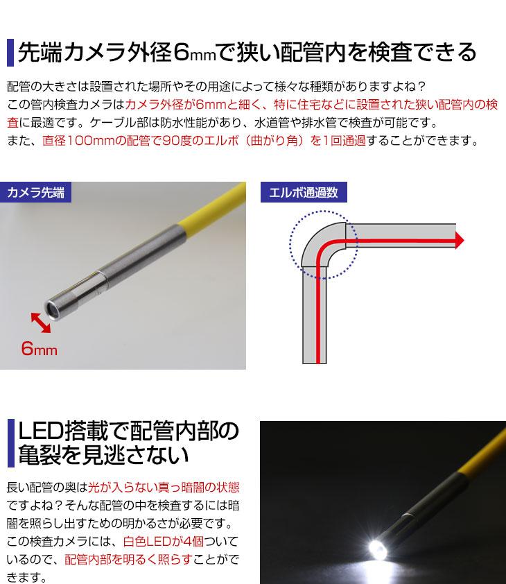 先端カメラ外径6mmで狭い配管内を検査できる