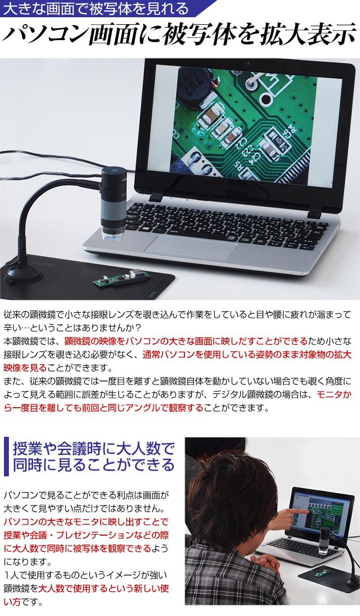 パソコン画面に被写体を拡大表示