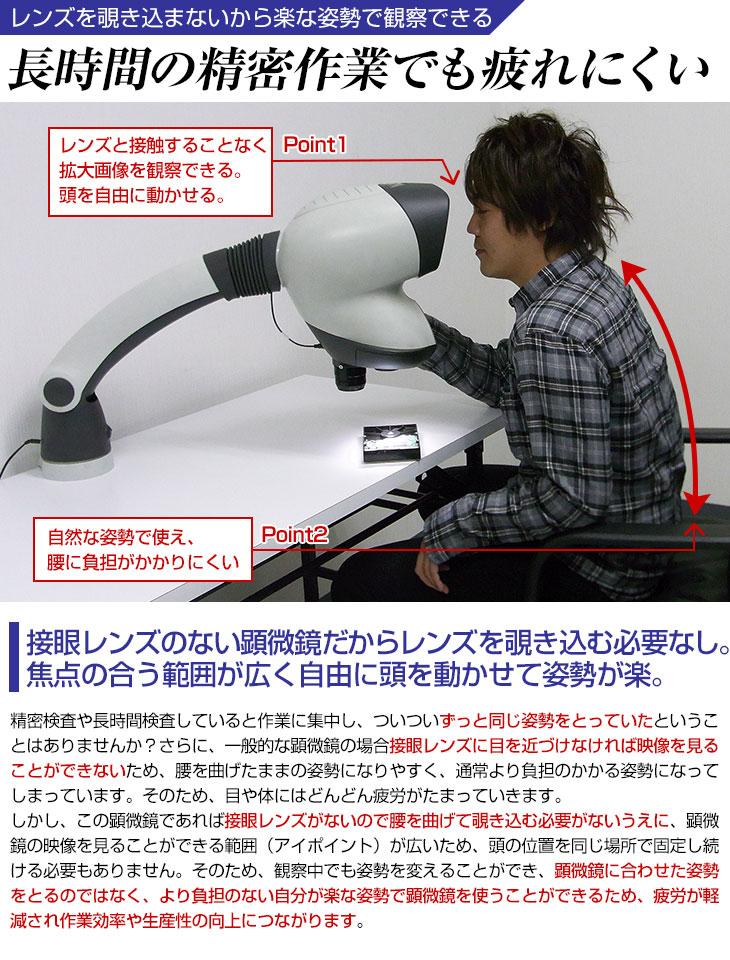 接眼レンズのない顕微鏡で姿勢が楽