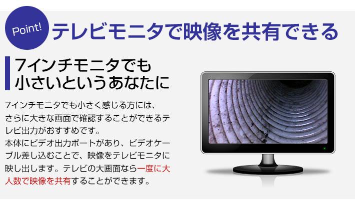 テレビモニタで映像を共有できる