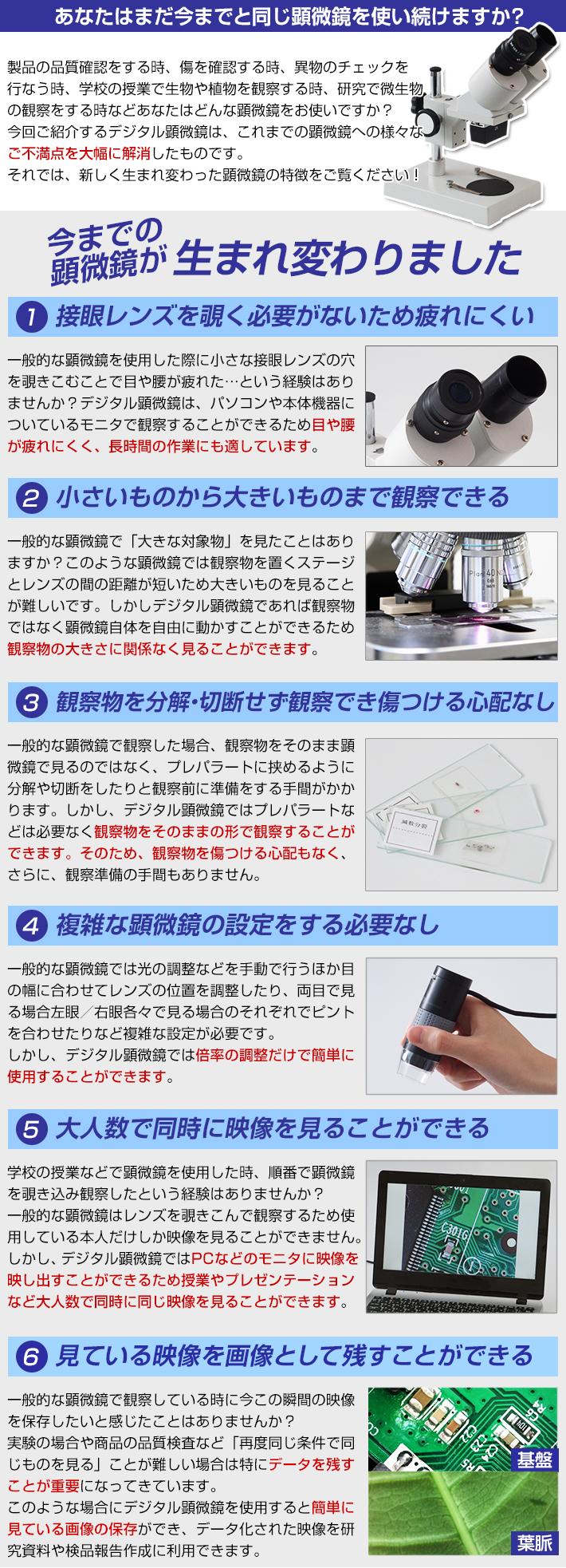 デジタル顕微鏡の比較