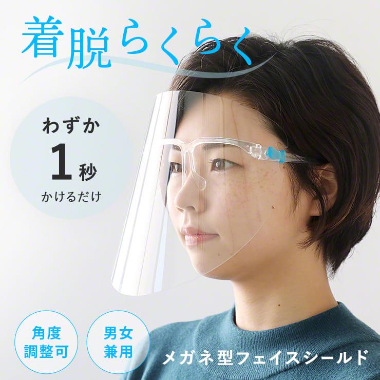 フェイスシールド メガネ型 飛沫ガード 全面透明 軽量 フェイスガード ウイルス ウイルス対策