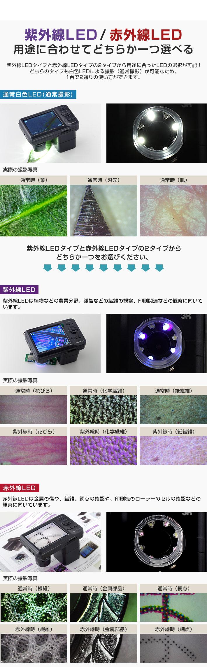 紫外線LED / 赤外線LED 用途に合わせてどちらか一つ選べる