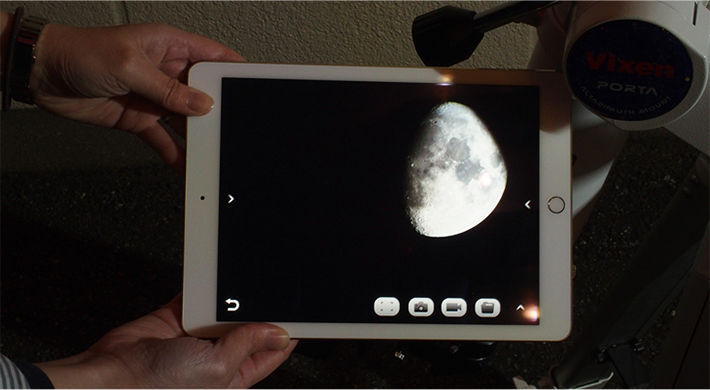 望遠鏡から離れてもタブレットに映像が映る