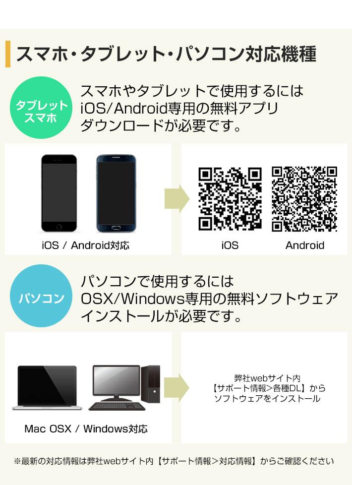 スマホ・タブレット【iOS/Android】パソコン【OSX/Windows】に対応