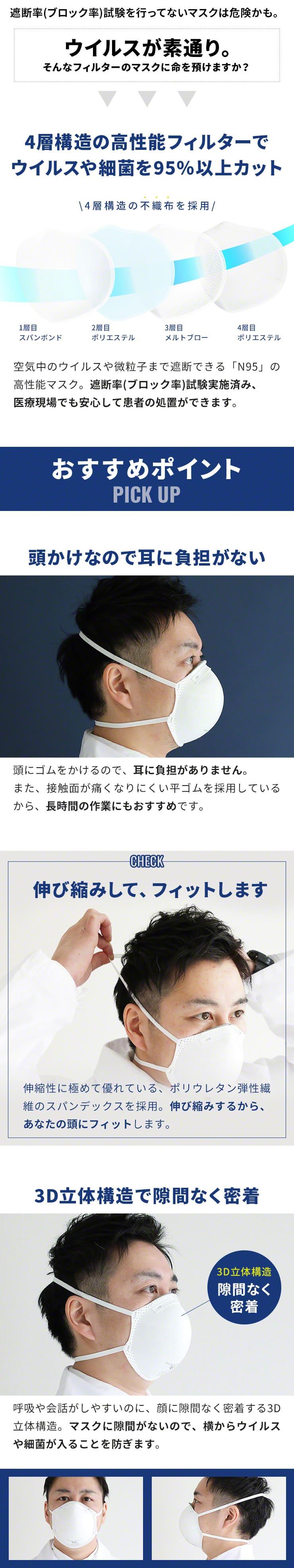 耳ゴム 頭かけ 3D 立体構造