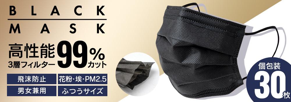 新感覚 ブラックマスク 個包装 30枚入り